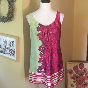 "CABI sz MEDIUM Tunic 100% Silk ""Cosmo"" Floral $119"
